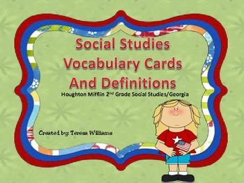 Social Studies Vocabulary Cards/ Houghton Mifflin 2nd Grade/Georgia