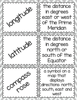 Social Studies Vocabulary Cards - Landforms and Bodies of Water