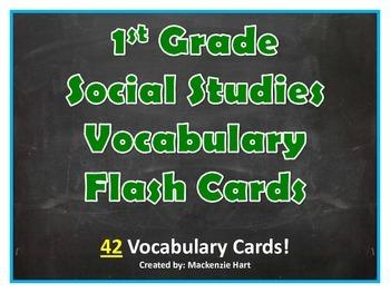 Social Studies Vocabulary Cards for 1st Grade