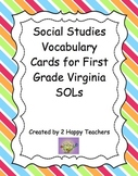 Social Studies Vocabulary Cards for First Grade Virginia SOLs