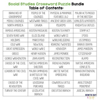 Social Studies (History & Government) Vocabulary Crossword Puzzle Bundle