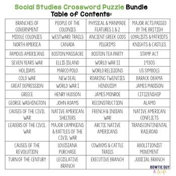 Social Studies (History & Government) Vocabulary Crossword Puzzle Bundle