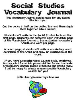 Social Studies Vocabulary Journal