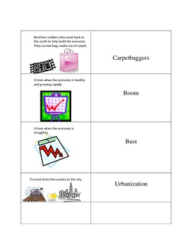 Social Studies Vocabulary Modification Flash Cards: After Reconstruction