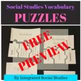 Social Studies Vocabulary Puzzle FREE PREVIEW