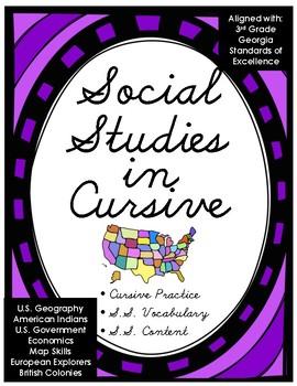 Social Studies in Cursive 3rd Grade Georgia Vocabulary