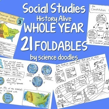 Doodle Foldables -Social Studies WHOLE YEAR 21 Interactive Notebook BUNDLE