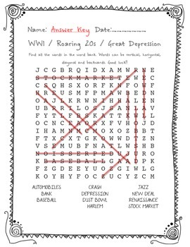Social Studies WW1/ Roaring 20s/ Great Depression Word Search