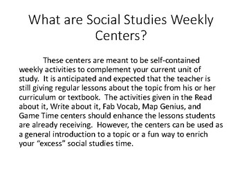 Social Studies Weekly Centers Starter Kit