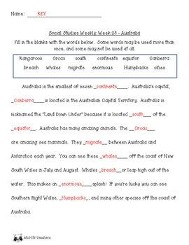 Social Studies Weekly Notes Australia - Word Bank