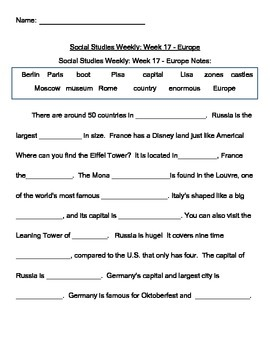 Social Studies Weekly Notes Europe - Differentiated