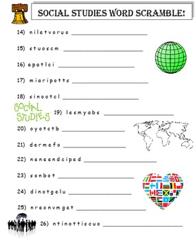Social Studies Word Scramble (A Thinking Activity)