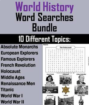 Social Studies Word Search Bundle: Ancient, World, and American History