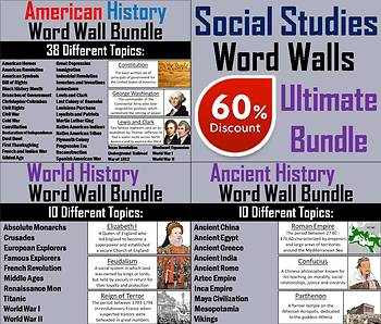 Social Studies Word Wall Cards Bundle: American, World, and Ancient History