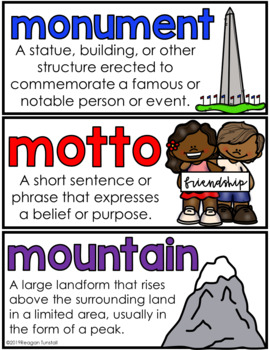 Social Studies Word Wall Cards K-2
