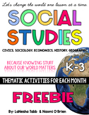 Social Studies Workbook and K/1 FREEBIE