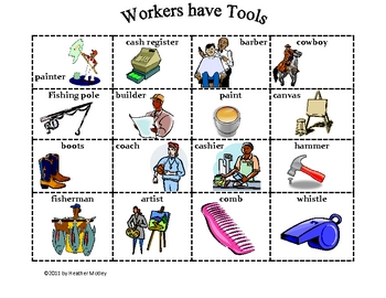 Social Studies: Workers have and use Tools: Sort and Match Activity