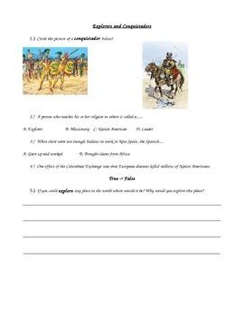 Social Studies World History Conquistadors Explorer Assessment Special Education
