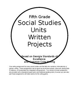 Social Studies Writing Assignments