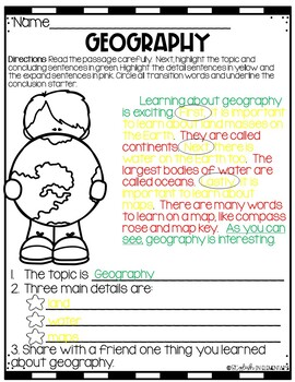 Social Studies-Writing Connection Geography-CKLA