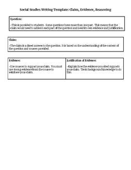 Social Studies Writing Template: Claim, Evidence, Reasoning