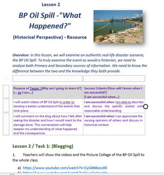 Social Studies _Authentic _BP Spill_Maps_Graphs_Primary Sources_Historian