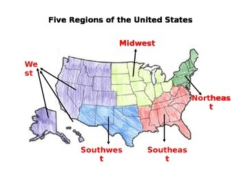 Social Studies and Geography - Five Regions of the United States