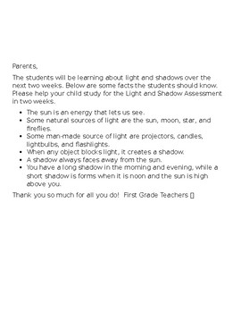 Social Studies and Science Study Guides to Send home to parents