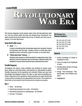 Social Studies and the Common Core: Lesson 4: Revolutionary War Era
