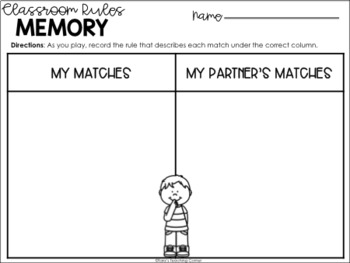 Social Studies for Little Learners: Classroom Rules Memory
