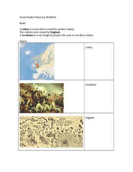Social Studies modified worksheet American Revolution