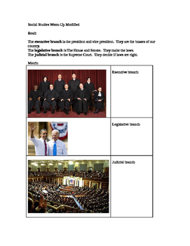 Social Studies modified worksheet Branches of Government 1