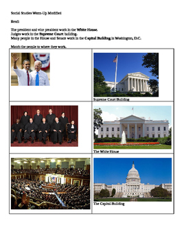 Social Studies modified worksheet Branches of Government 2