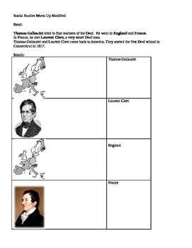 Social Studies modified worksheet US Deaf Education History