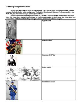 Social Studies modified worksheet Underground Railroad
