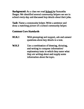 Social Studies- rubric, standards and task for community helpers