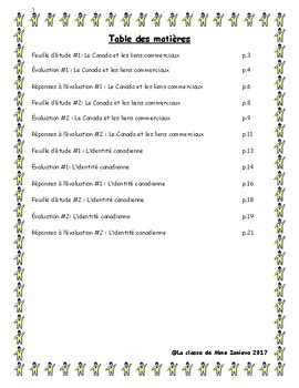 Social Studies tests + Study sheets/ Feuilles d'etudes + tests Études sociales