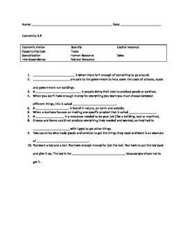 Social Studies, third grade, economics worksheets, activities