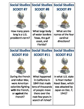 Social Studies/American History SCOOT review game~ FUN!