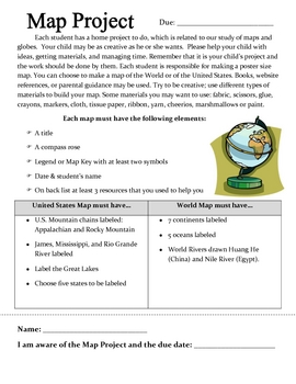 Social Studies:Create a Map: Project Letter and Rubric