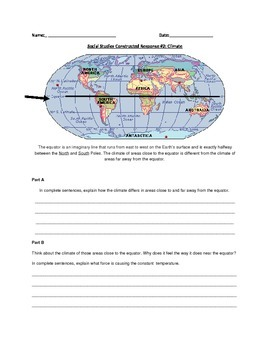 Social Studies/Geography  Constructed Response: equator and climate