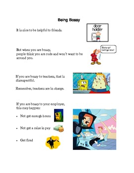 Social Tale - Being Bossy - Vocational - Autism