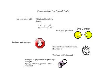Social Tale - Conversation Don'ts and Do's - Autism - Social Skills - Asperger's