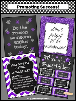 Where is the Social Worker Door Sign SET, Confidentiality Rules Office Decor