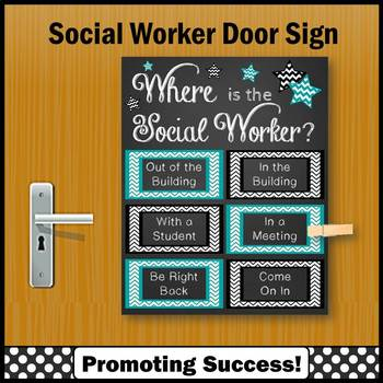 Where is the Social Worker Sign, Teal and Black, Office Decor