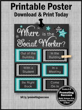 Where is the Social Worker Sign, Teal and Black, Office Door NOT EDITABLE