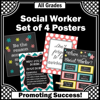Where is the Social Worker Sign, Office Decor POSTERS Bundle