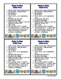 Social and Emotional - Bullying - Ways to Stay Bully Free - Student Cards