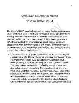 Social and Emotional Needs of Gifted Students Handout