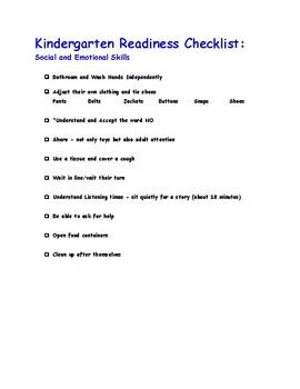 image about Kindergarten Readiness Checklist Printable named Kindergarten Readiness Listing Worksheets Training